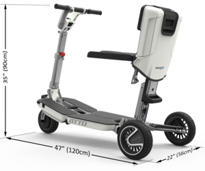 Folding mobility scooter that folds within seconds to a